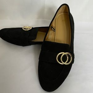 H&M faux suede Black Flat Loafers   Size 7